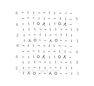 Three-row lace chart