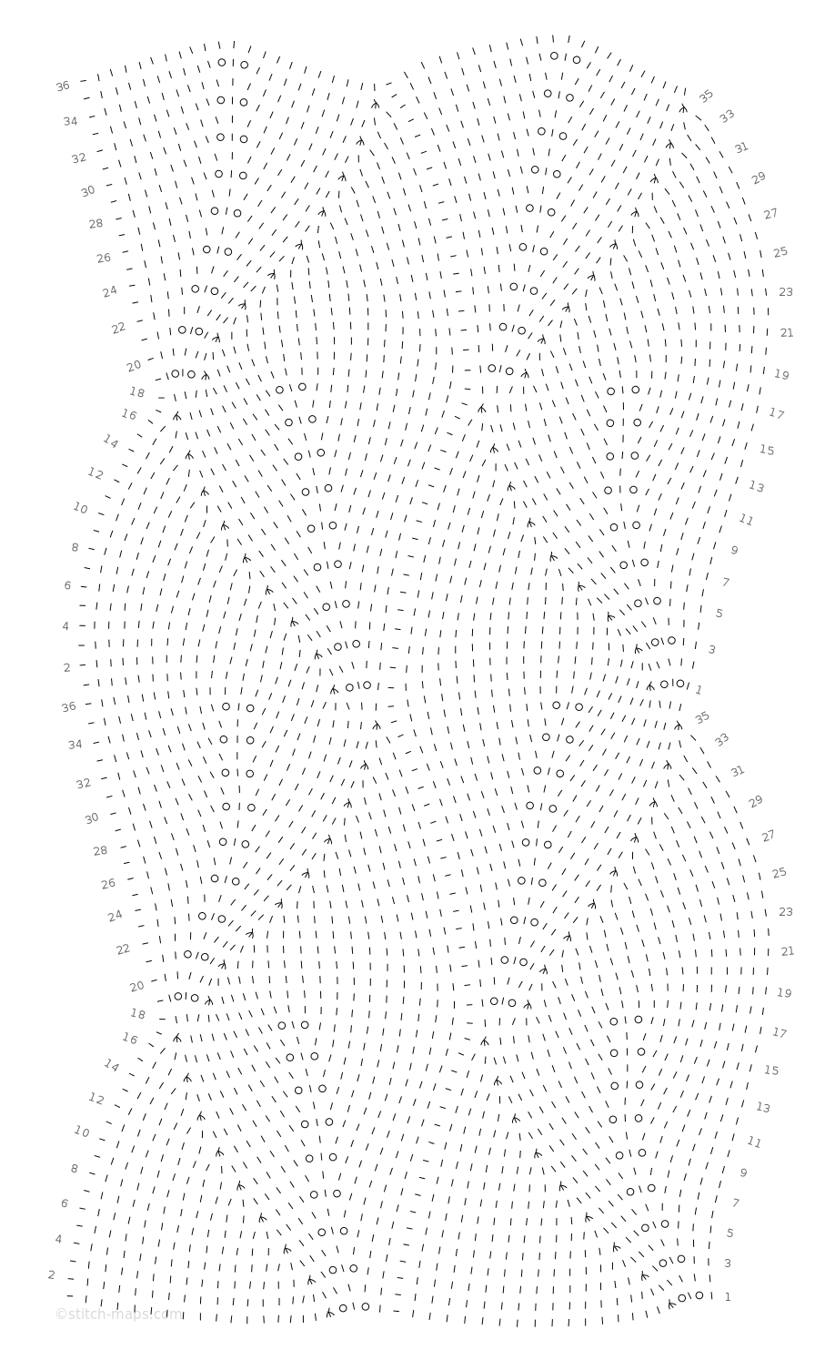 Overlapping leaf lace chart