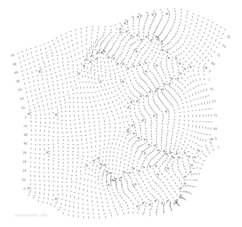 Garter short row leaves chart