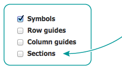 Sections checkbox