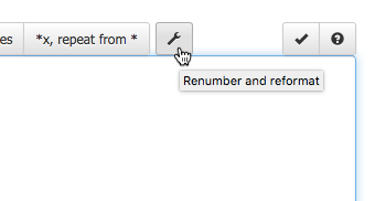 Renumber and reformat button