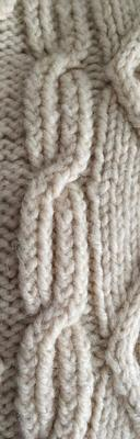 Aran long cable swatch photo