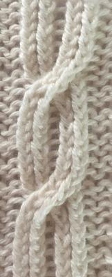 Five stitch cable with two-step crossings swatch photo