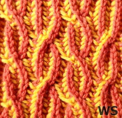 Two-Colour Brioche Cable (Flat) swatch photo