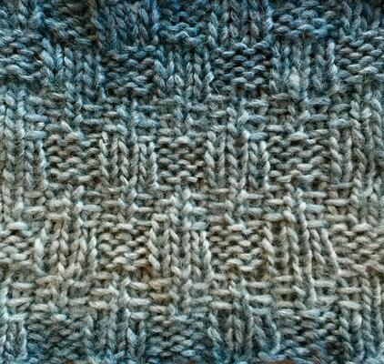 Slip stitch and rib bands swatch photo